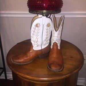 Larry Mahan leather Square Toe Cowboy Boots 8.5D